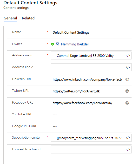 Dynamics 365 Marketing - For A Fact Default Content settings