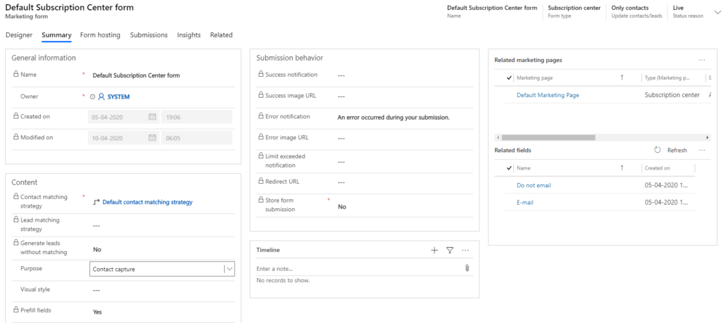 Dynamics 365 Marketing - For A Fact Default Subscription center form - Summary