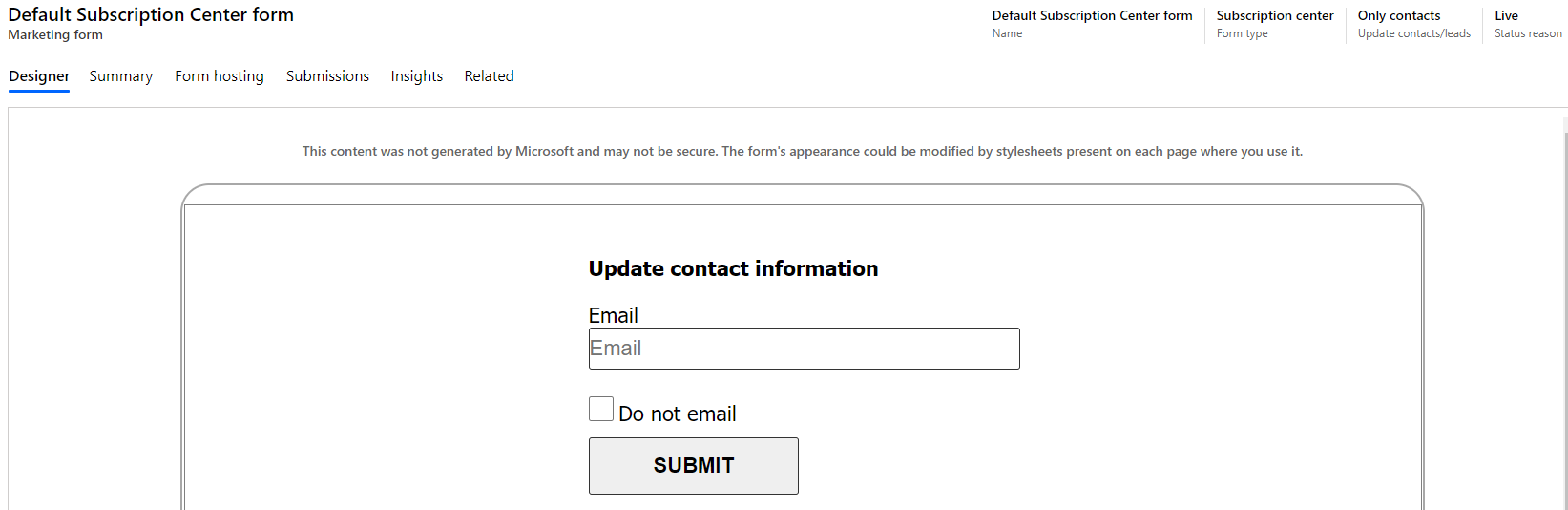 Dynamics 365 Marketing - For A Fact Default Subscription center form