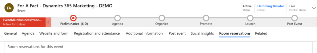 Dynamics 365 Marketing - For A Fact Event Room Reservations
